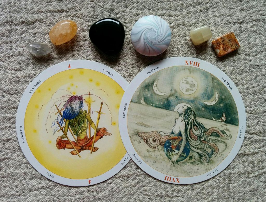 Four of Swords & The Moon (Circle of Life Tarot, Llewellyn Publications copyright 2008)