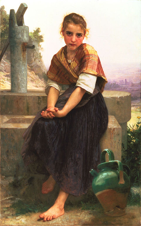 A girl sits at a well with a broken pitcher at her feet