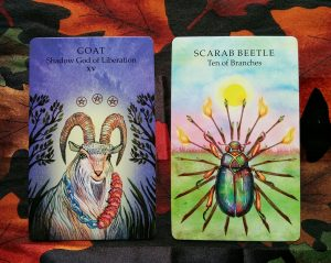 Animal Wisdom Tarot: Goat, Shadow God of Liberation and Scarab Beetle, Ten of Branches