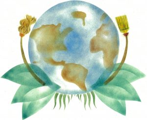 Painting of the Earth with leaves and brooms